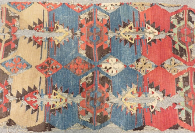Mid 18th C Central Anatolian fragment Kilim Size.300x63 Cm