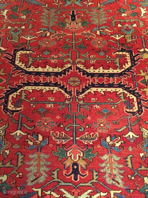 Early 20th century Heriz, Good condition with lovely red ground 9' x 11'