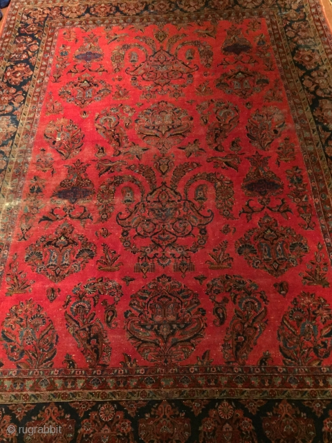 Very fine, Late 19th century Kashan, Manchester Wool, a rare example of its kind  In as found Condition Circa 9' X 11'