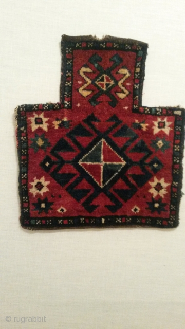 """Kazak / trans Caucasian salt bag 17""""x 19""""  43cm x 48 cm nice colors and drawing, intact back , old enough,.. email for more pics or info"""