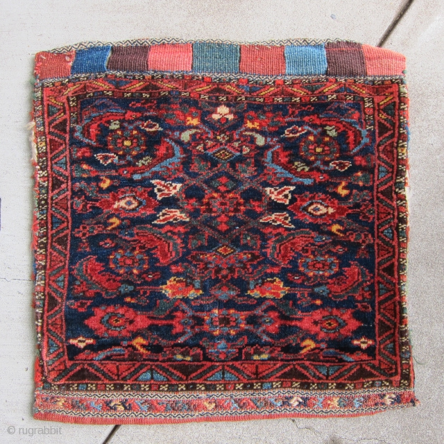 Kurd/Bidjar 1/2 khordjin, late 19th C.  2' x 2'  This bag, featuring a classic herati design, exemplifies a pattern with a long, noble history in Kurdistan.  It has remarkable  ...