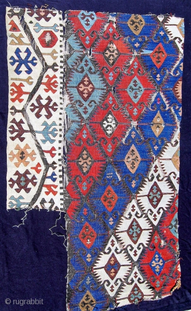 """Late 18th or early 19th C. Antolian kilim fragment from the Konya area, 34"""" x 58"""".  Narrow section 23"""" wide. Colors are softer and much more attractive in person."""