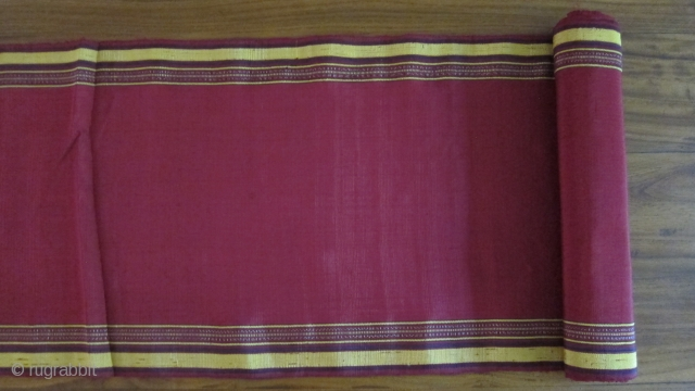"""Turkmen hand loomed silk fabric in 2 pieces: 12"""" x 16' and 12"""" x9'3"""""""