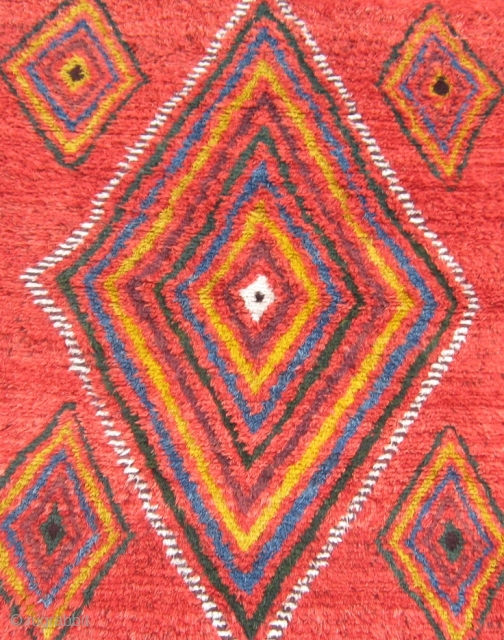 "Central Asian sleeping rug, 5'4' x 6'3"".  This dramatic and colorful rug was reportedly purchased from Baluchi tribesmen in the area between Quetta and Kandahar. It was woven to be used  ..."