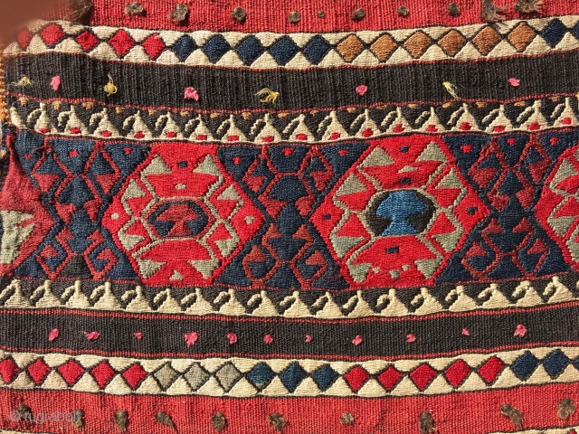 """Weftless sumak saddlebags with silk highlights in excellent condition, 1'10"""" x 3'3"""".  Eastern Anatolia, late 19th or early 20th C. Dynamic drawing on the face, and a terrific banded back."""