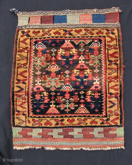 """Laate 19th C. Kurd bag face, 2' x 1'7"""", This Kurdish bag face is a fine example of the positive effects of corrosion of the background brown wool in oriental rugs and  ..."""