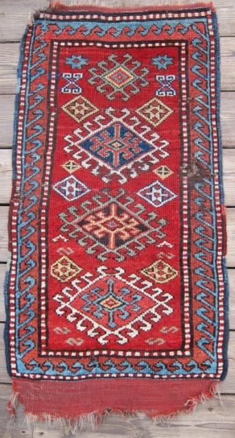 "Late 19th C.Anatolian Yastik 20"" x 39"" Fabulous color and a bargain price!"