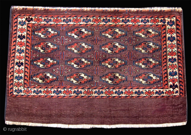 """Mid-19th C. Yomud chuval, 2'6"""" x 3'7"""".  Classic old 16 gul chuval. Small repair on one edge.  SOLD"""