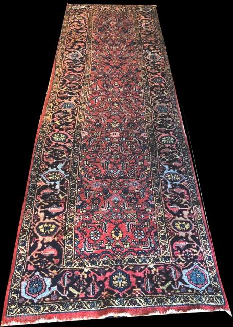 "Very good condition antique Persian Kurd Bidjar, measures 3'-5"" x 11'."