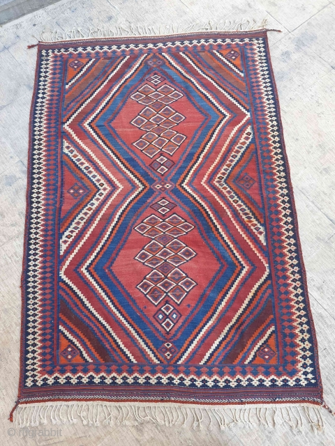 This is an Afshar kilim from Darab city , Darab is a border city between Qashqai's area and Afshar tribe area , there are similarities between Qashqai designs and Afshar traditions in  ...