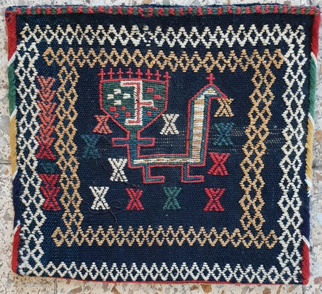 Double faced qashqai chanteh , with splendid peacock , excellent condition  ,25 * 25 cm , circa 1920  Por