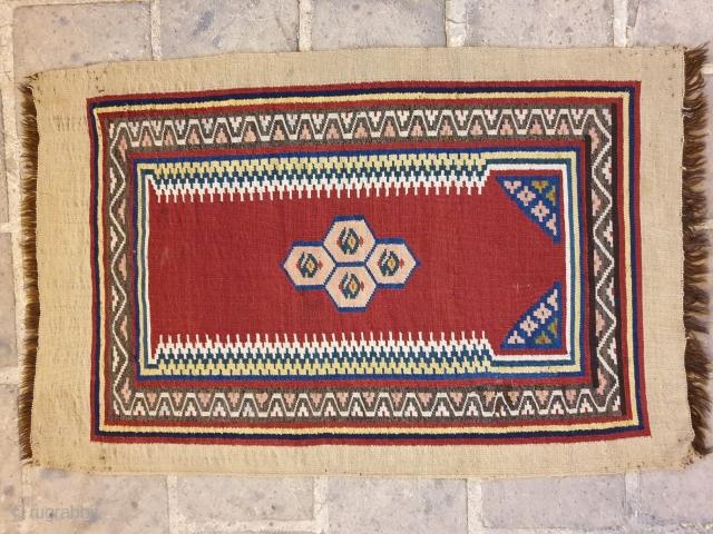 Shooshtar fine kilim with mehrab design  80 years old , 108 * 72 cm