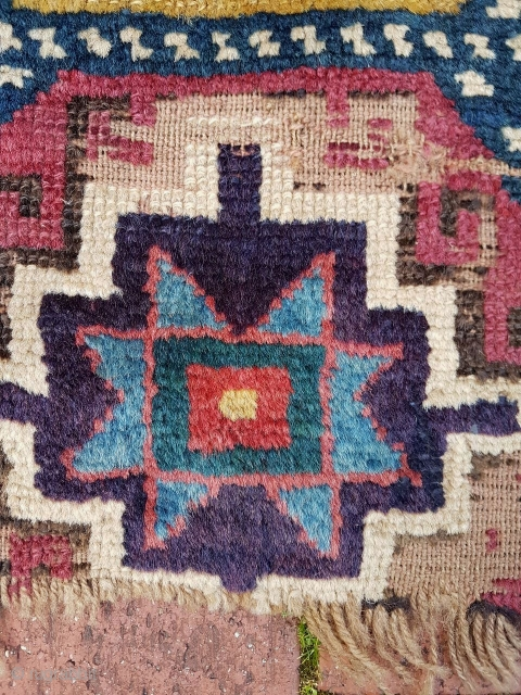 Mid to early 19C Caucasian Kazak rug fragment, 80cm x 48cm.   Outstanding wool and COLOUR !!!