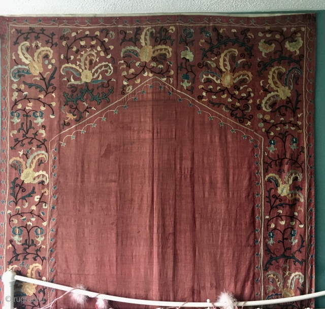 Prayer Suzani C19th  Silk  236 cm  by  149 cm   Tapestry style lining  Pay PayPal   postage included   for UK only
