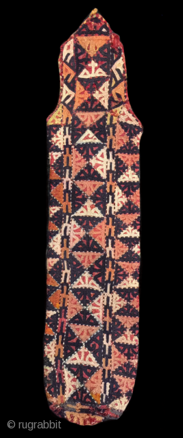 Yomud embroidered scissor bag circa 1900.  All natural dyes and in excellent condition.