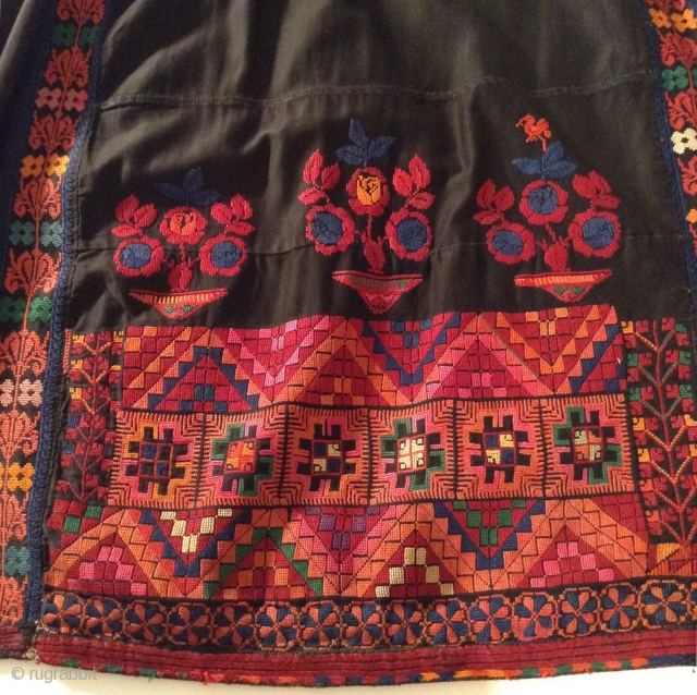 This was originally a Palestinian dress, but was made into a skirt. (Not by me). The top may have been damaged or worn.  The embroidery is beautiful and in perfect condition.