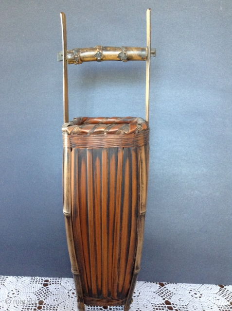 Japanese Bamboo Basket, probably early 20th century. Comes with bamboo insert for Ikebana (flower arrangements). Perfect condition.  19 inches high. Shipping not included in the price.