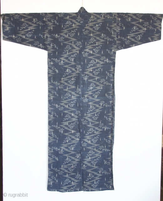 Japanese Kimono, very fine indigo color. I believe the fabric is ramie. It is an Ikat called Katsuri.  