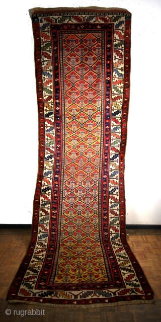 Meshkin, Prov. Ardebil, South Caucasus.  Late 19th century.  size 365 x 115 Cm.  Headings and borders ok.  Great natural colors.