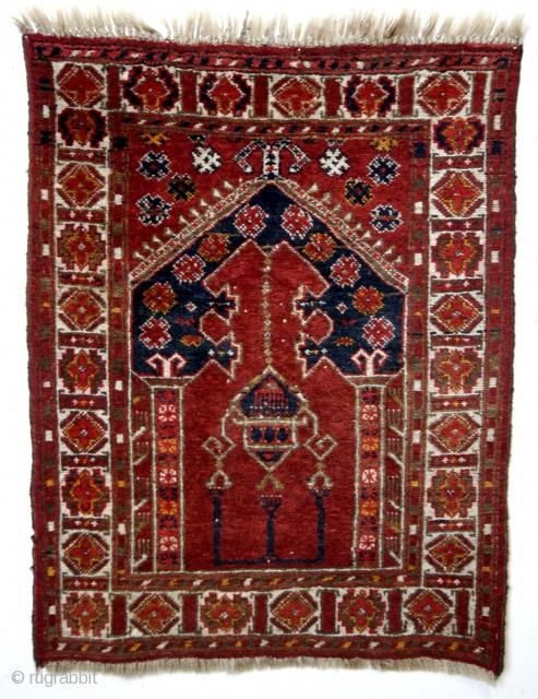 prayer rug, Abu Dahria area, mid 20th century.  110 x 83 Cm.  SOLD