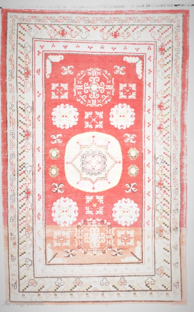 "Khotan Antique Oriental Rug 4'0"" X 6'5"" #7912 $1,250.00 Age: circa 1900  Size: 4'0"" X 6'5"". https://antiqueorientalrugs.com/product/khotan-antique-oriental-rug-40-x-65-7912/"