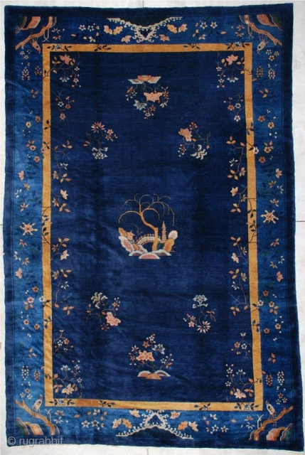"""#6964 Antique Peking Chinese Rug 8'10"""" X 13'5″ $7,500.00 Size: 8'10"""" x 13'5″   https://antiqueorientalrugs.com/product/6964-art-deco-chinese-rug/"""