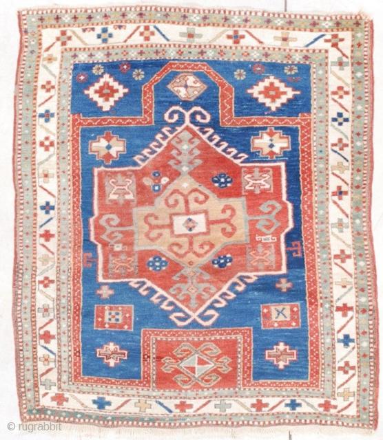 "#7555 Facralo Kazak Antique Caucasian Rug This 19th century antique Facralo Kazak Caucasian Oriental rug measures 3'8"" X 4'4"" (115 x 134 cm). It has a prayer motif with a re-entrant at the  ..."