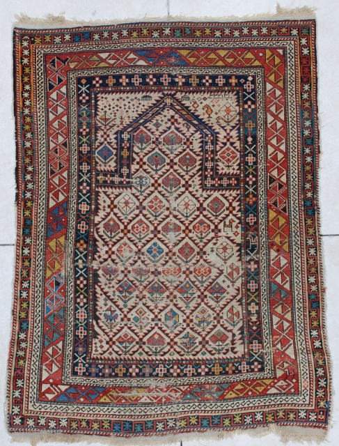 #6611 Shirvan Antique Caucasian Rug 3'6″ X 4'10"