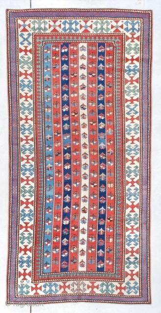 #7372 Kazak Antique Caucasian Rug   Size: 3'6″ X 7'3″  (109 x 222 cm)  Age: Circa 1870 https://antiqueorientalrugs.com/product/7372-kazak-antique-caucasian-rug/
