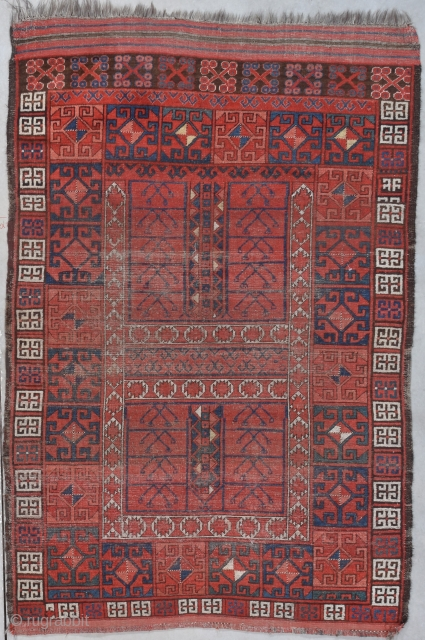 """Antique Ersari Hatchli Oriental Rug 4'0"""" X 7'1"""" #8007 This 19th century Ersari Hatchli made in Afghanistan measures 4'0"""" X 7'1"""". It has kilim ends one of which is finished in horizontal lines  ..."""