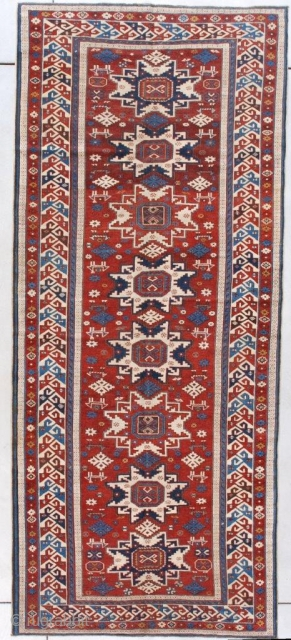 """This late 19th century Lesghi Shirvan #7624 Long Rug Oriental Carpet measures 4'1"""" x 9'5"""" (125 x 289 cm). It has the rare and very heavenly red ground with eight Lesghi stars  ..."""