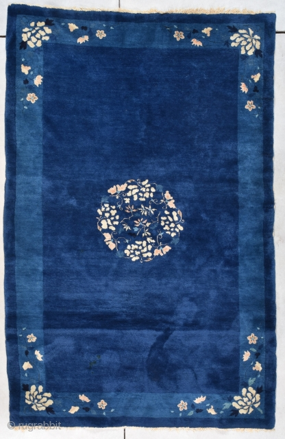 """Antique Peking Chinese Oriental rug  #8010 This circa 1890 Peking Chinese rug measures 5'1"""" X 7'9"""". It is in mint condition with a beautiful indigo ground which has a center medallion of  ..."""