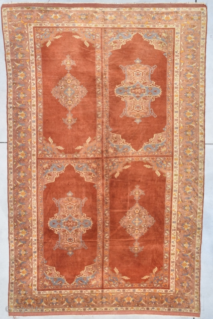 """Antique Amritsar Oriental Rug #8012 This circa 1900 Amritsar antique carpet from India measures 7'4"""" X 11'4"""". It is a very finely woven rug with beautiful softly spun wool. The field of the  ..."""