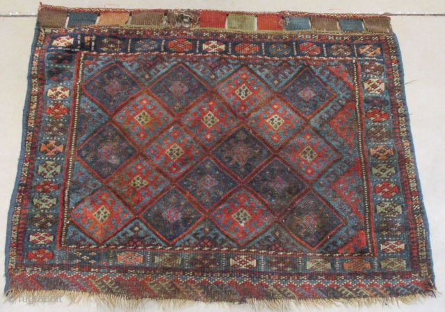 """This circa 1870 Jaf Kurd measures 2'6"""" X 3'2"""". It is a bag face with coloration in two or three shades of blue, ivory, pale green, pale blue green and a nice  ..."""