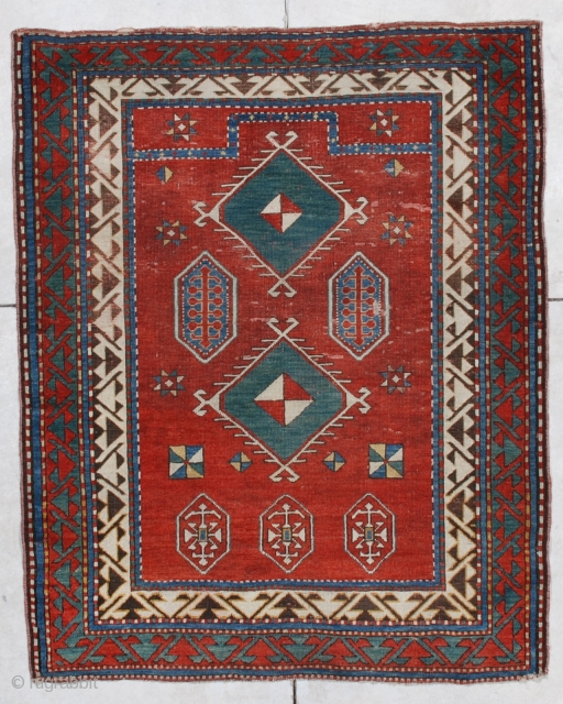 "#6876 Borchalo Kazak Antique Caucasian Rug 3'10"" X 4'9″ $6,500.00 Size: 3'10"" X 4'9″  (121 X 149 cm)  Age: 1st 1/2 19th century     https://antiqueorientalrugs.com/product/6876-borchalo-kazak-antique-caucasian-rug/"
