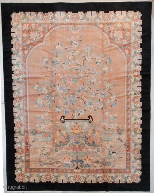 """#7579 Antique Peking Chinese Rug  This circa 1930 Peking Chinese Oriental Rug measures 9'2"""" x 11'9"""" (280 x 362 cm). This is a very interesting rug.  Describing it from the bottom  ..."""