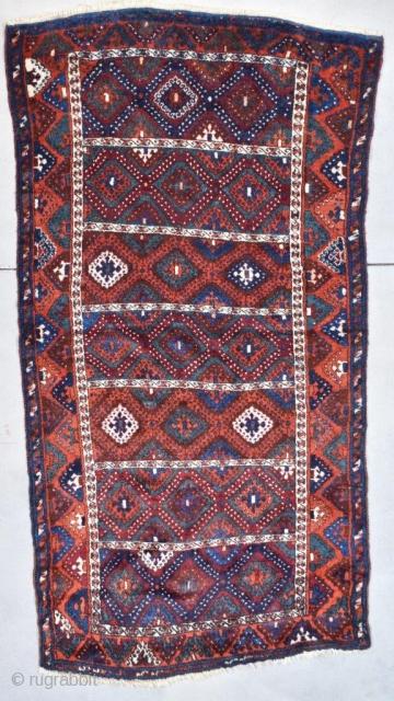 "#7748 Antique Yoruk Turkish Rug This last quarter 19th century antique Yoruk Oriental Turkish carpet measures 4'3"" X 8'0"" (131 x 244 cm). It has a panel motif with seven diamond filled panels  ..."