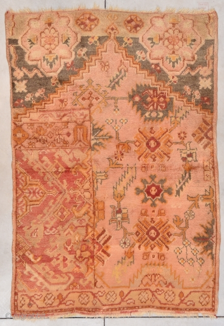 """#7765 Oushak Weigerah Antique Turkish   4th quarter 19th century Oushak Weigerah antique Turkish carpet sampler measures 4'5"""" X 6'5"""". This is a very rare rug. It is the only Oushak I have  ..."""