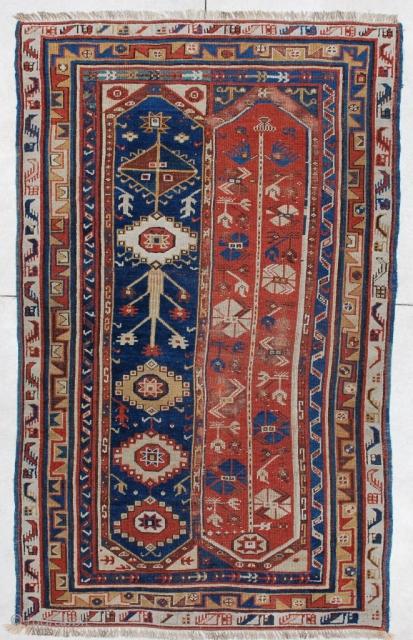 "#5970 Makri Antique Turkish Rug  This circa 1850 antique Turkish Megri or Makri antique Oriental rug measures 4'3"" X 7'0"" (131 x 213 cm).  It is a fantastic two panel Megri in  ..."