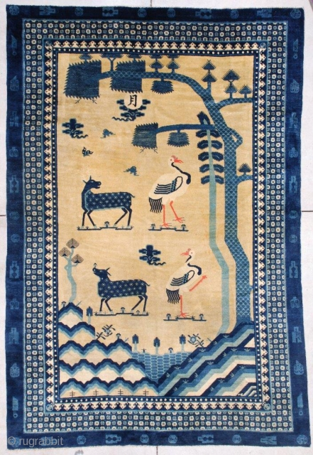 """#7261 Antique Mongolian Rug 6'5"""" x 9'4"""" This late 19th century antique Mongolian Oriental carpet measures 6'5"""" x 9'4"""" (198.12cm x 286.512cm). It has a very lovely design of three trees in three  ..."""