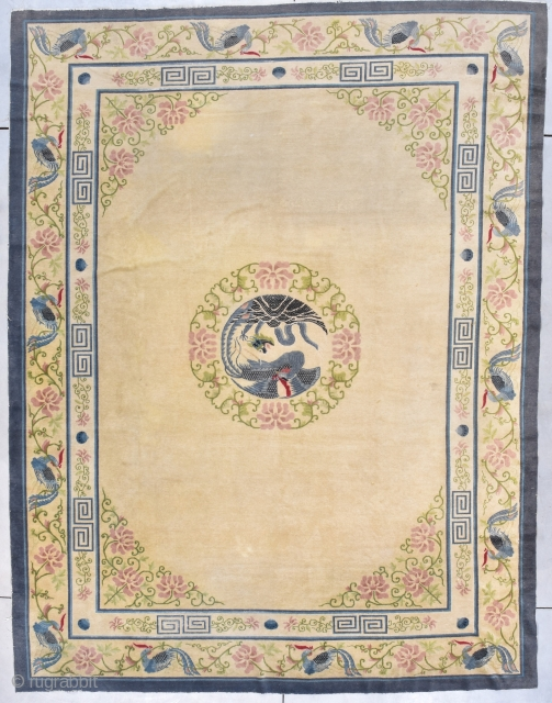 """Antique Peking Chinese Rug 9'1"""" X 11''10"""" #7877 This third quarter 19th century Peking Chinese rug measures 9'1"""" x 11''10"""" (277 x 363 cm). It has an old ivory colored field with a  ..."""