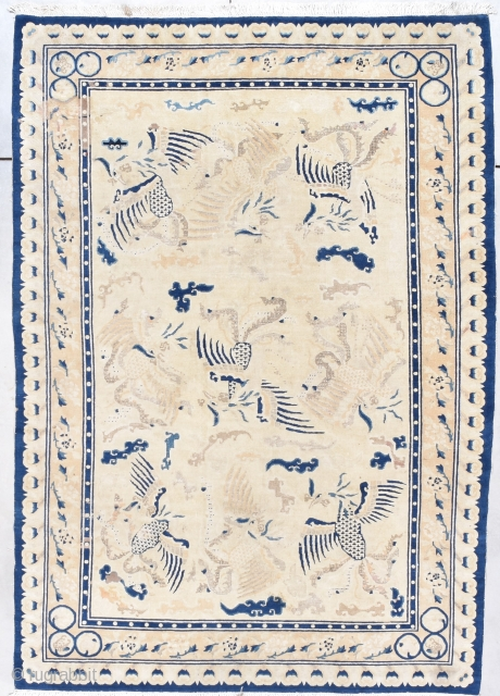 """This circa 1850 Antique Peking Chinese Rug measures 6'4"""" X 8'10"""" (195 x 272 cm). There is a type of rug that is very rare. It is called 'The Six Horses of  ..."""