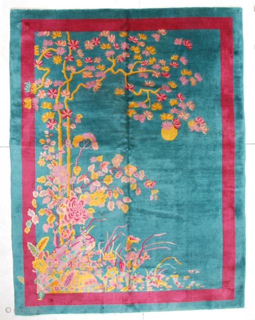 "https://antiqueorientalrugs.com/product/6686-art-deco-chinese-rug/ #6686 Antique Art Deco Chinese Rug 8'11"" X 11'5″ $7,500.00 Size: 8'11"" x 11'5″ (185 x 350 cm)  Age: Circa 1920  Price on request"