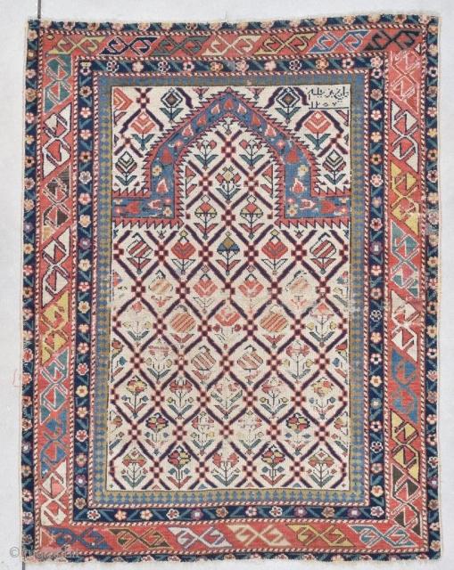 "#7773 Marasali Shirvan Antique Caucasian Rug 3'2″ X 4'1″  Size: 3'2″ X 4'1″""  (96 x 124 cm)   Age: Dated 1257 / 1841 https://antiqueorientalrugs.com/product/7773-marasali-shirvan-antique-caucasian-rug/"