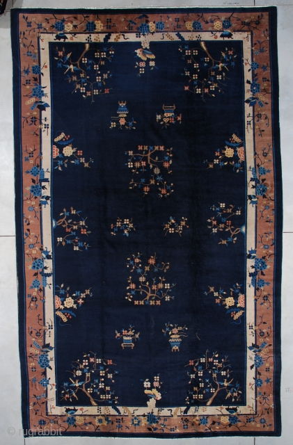 """#7500 Antique Peking Chinese Rug This circa 1900 Peking Chinese Oriental rug measures 8'10"""" x 14'6"""" (273 x 444cm). It has a navy blue field with flower sprays in brown, rust, ivory  ..."""