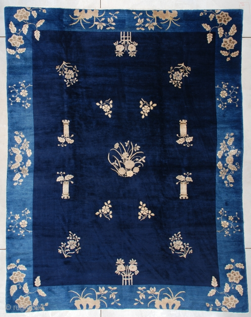 """#7442 Peking Chinese Rug  This Peking Chinese Oriental rug measures 9'0"""" X 11'6"""" (274 x 353 cm). This stunning antique Peking Chinese carpet has absolutely got it all! It has a navy blue  ..."""