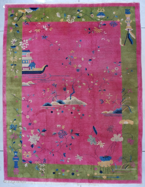 #7530 Art Deco Chinese Rug  This circa 1925 Art Deco Chinese measures 9 ft 1in X 11ft 11in (277 x 338 cm). It has a pale raspberry field completely covered in water motif.  ...