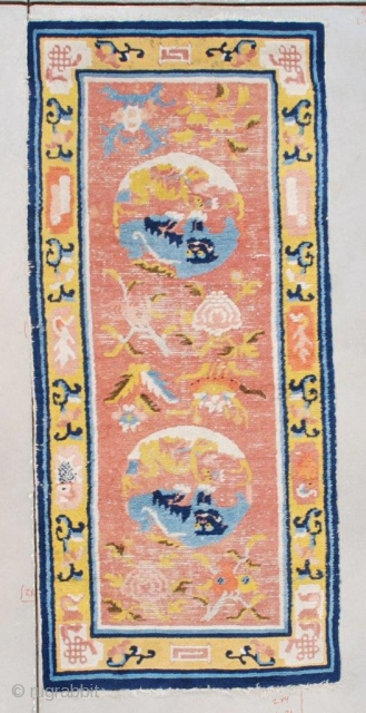 """PAIR OF Antique Ningxia Rug 2'5″ x 5'4″ #7508  This circa 1850 Ningxia antique Chinese rug measures 2'5"""" x 5'4"""" (76 x 164 cm). It has a coral ground containing two ivory  ..."""