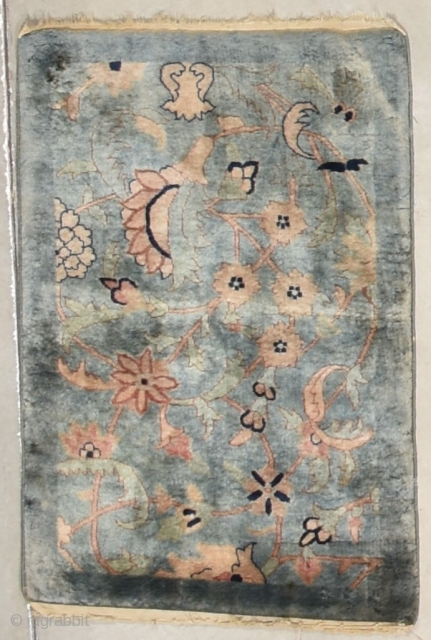 "Luxury underfoot Antique India Pashmina Oriental Rug  #7943 $2,500.00 Age: mid-19th century  Size: 2'0"" x 3'0"" https://antiqueorientalrugs.com/product/antique-india-pashmina-oriental-rug-20-x-30-7943/"