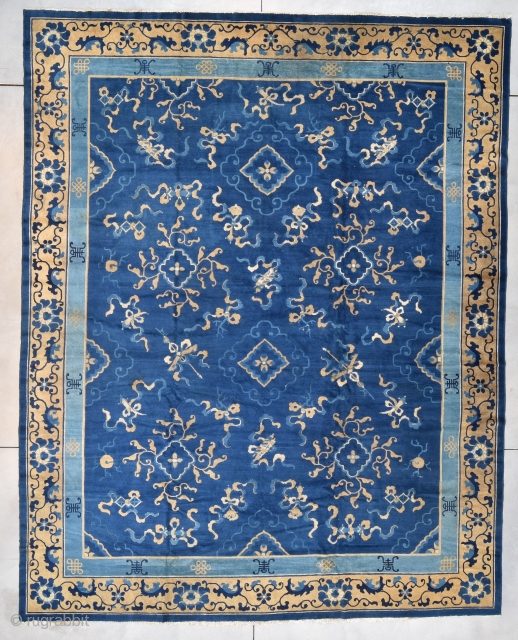"""#7781 Antique Peking Chinese Rug  This circa 1890 antique Peking Chinese Oriental Rug measures 11'0 X 13'9"""" (335 x 424 cm). It has a medium blue field with an overall design that is  ..."""